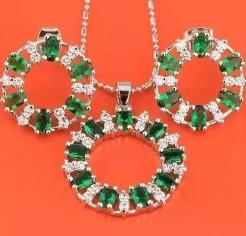 Colar Brinco Anel Prata 925 Platinado Pedra Verde Esmeralda