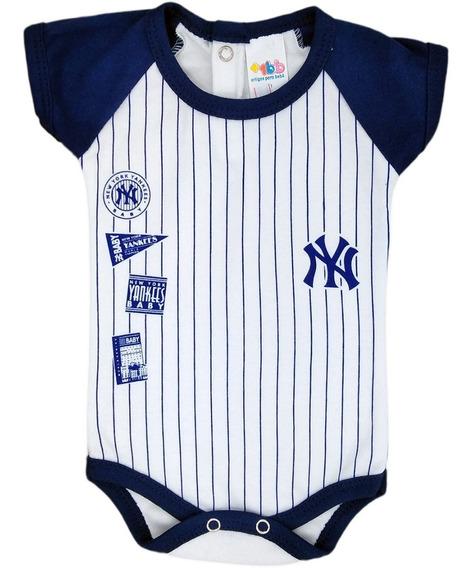 Body Bebê Manga Curta Beisebol Azul Marinho - Baby Yankees