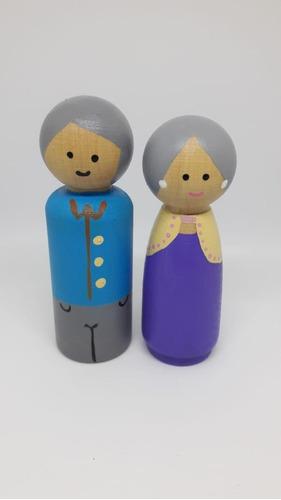 Muñecos De Madera Peg Dolls - Pareja De Abuelos -