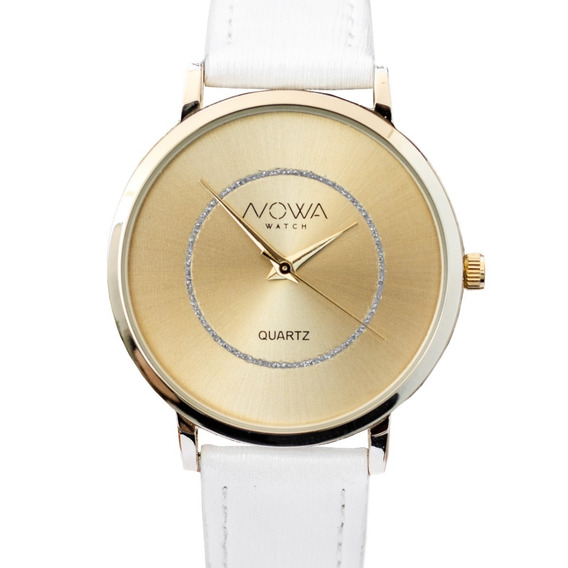 Relógio Nowa Feminino Dourado Couro Nw1408k Original