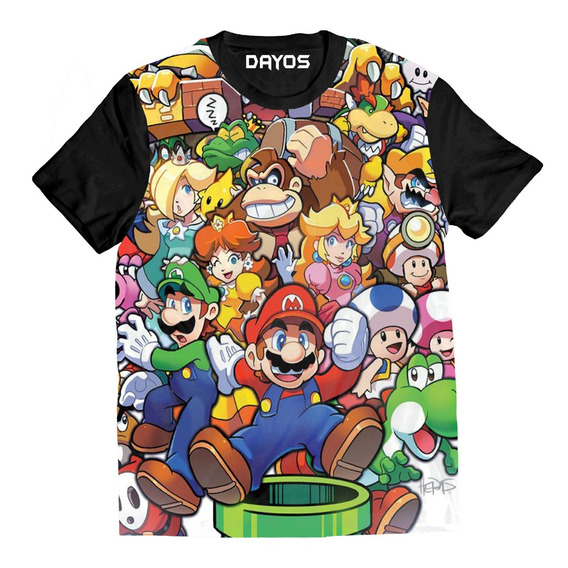Camiseta Camisa Super Mario Bross Adulto Infantil Algodao