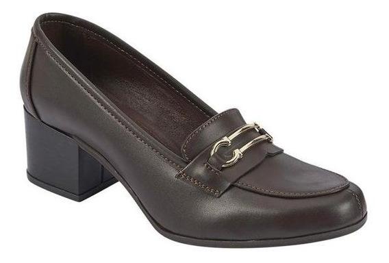 Zapato Color Chocolate Con Hebilla Tacon 5.5 Cm Terra 023-123 23 Al 26 Oto/inv19