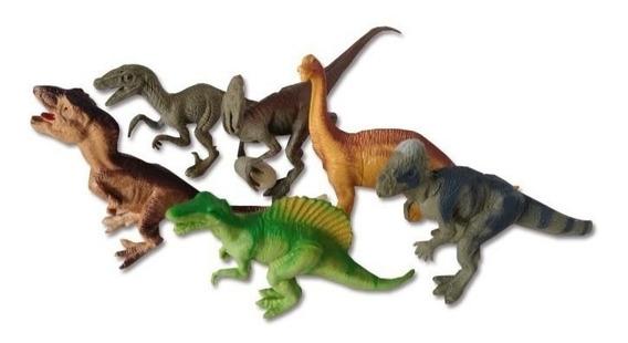 Kit 6 Peças Dinossauros De Borracha Miniatura Media Barato