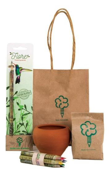 Lapiz Ecologico De Papel Reciclado Con Semilla Kit Fiore Eco