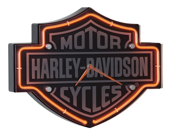 Harley Davidson - Etched Bar & Shield Shaped Neon Clock