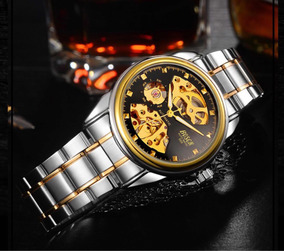 Relógio Automático Masculino Esqueleto Fundo Preto Luxo Ouro