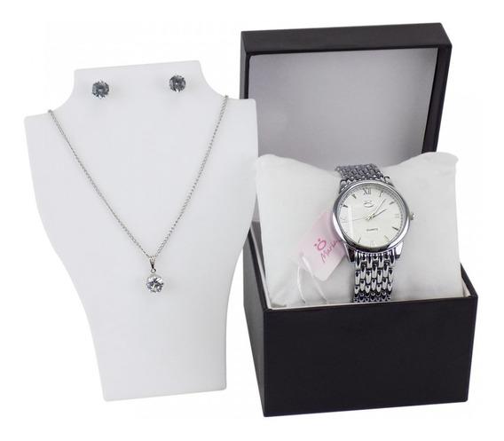 Relógio Feminino Aço Maria Analógico + Colar Rma220