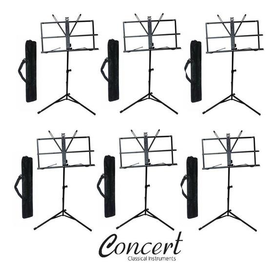 Estante Partitura Pedestal Suporte Concert Ms10 - Kit Com 6