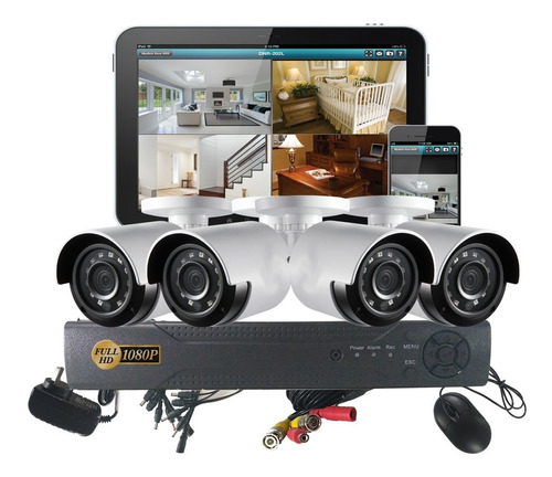 Kit 4 Camaras Seguridad Cctv Dvr 4ch Full Hd 1080p Monitoreo