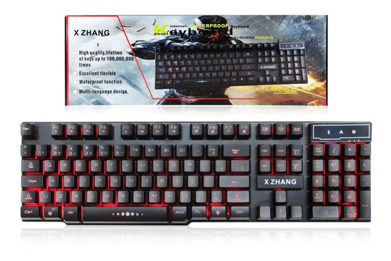 Teclado Gamer Semi Mecânico Usb Led Luminoso 3 Cores Neon