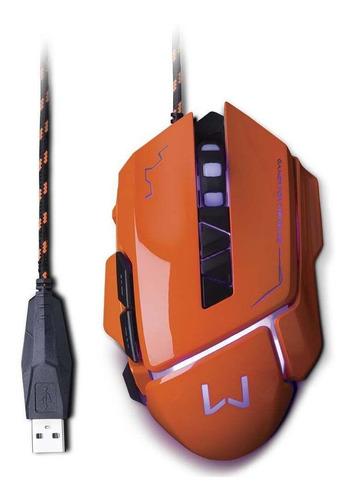Mouse Gamer 3200 Dpi Laranja Usb Warrior Mo263