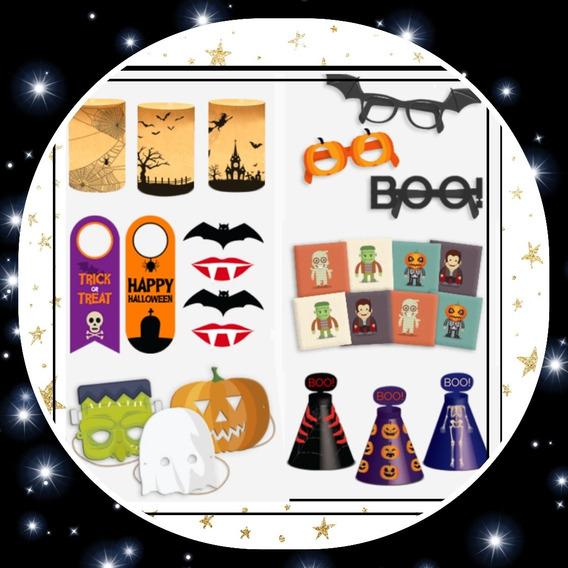 Kit Impreso Halloween! Máscaras Banderines Deco Memojuego