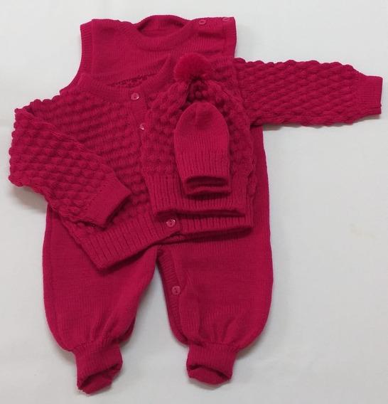 Conjunto Rn Com Salopete,casaco,touca E Luva Rosa Pink
