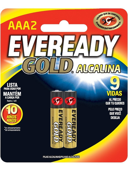 Pilas Baterias Alcalinas Aaa 1.5v Paquete De 2 Eveready Gold