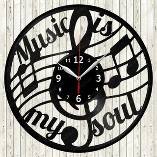 Reloj En Disco De Vinilo De Music