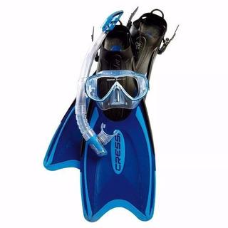 Cressi Aleta, Mascara Y Snorkel Mod Palau Azul Talla L- Xl *