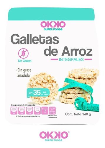 Imagen 1 de 6 de Rice Cakes Galletas De Arroz Integral Sin Gluten 140g Okko
