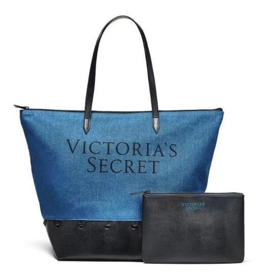 Victoria Secret Bolsa / Tote De Jean Con Neceser De Regalo