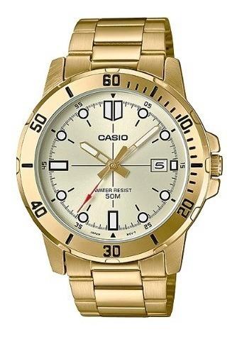 Relogio Masculino Casio Dourado Com Data Mtp-vd01g-9evudf