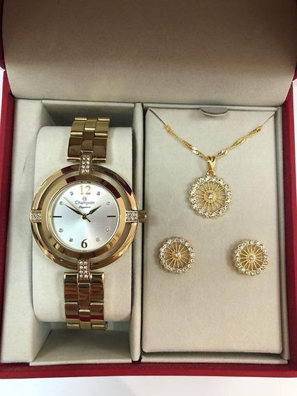 Relógio Feminino Champion Elegance Cn25421w + Kit= 50
