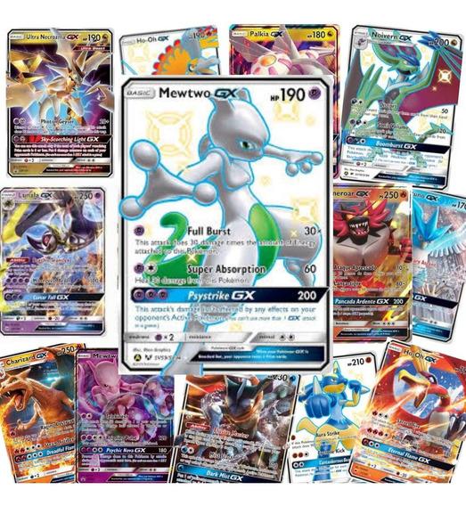 Kit 25 Cartas Pokemon Gx : 24 Gx + 1 Mewtwo Gx Shiny