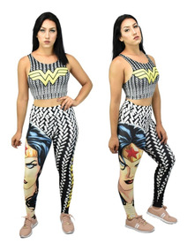 Kit Calça Legging + Top / Blusa Mulher Maravilha 3d Fitness