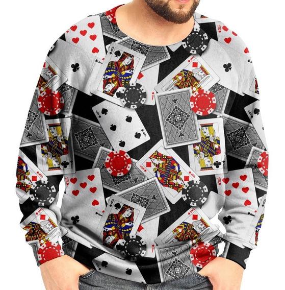 Moletom Raglan Unissex Poker Baralho E Fichas