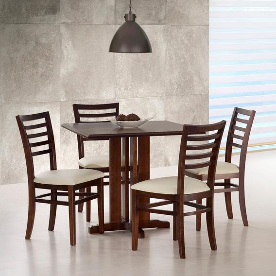 Mesa + 4 Cadeiras Austria Jantar Cozinha Restaurante Madeira