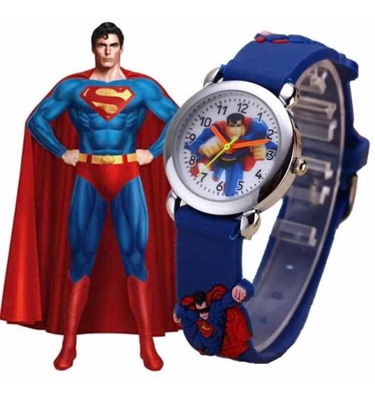 Relógio Infantil Super Homem Criança Meninos Superman Festa