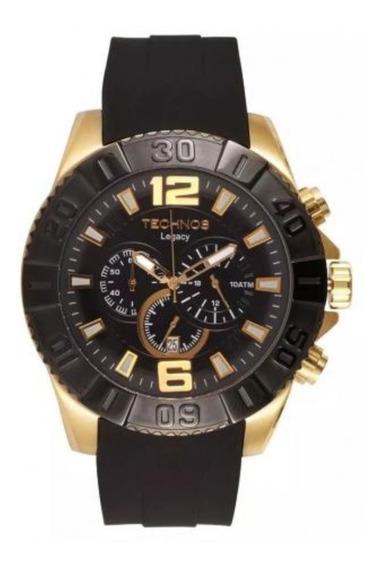 Relogio Technos Original Cronografo Legacy Preto E Dourado