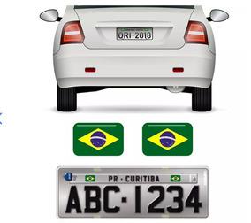 Par Bandeiras Brasil Placa Carro Moto Adesivas Resinadas