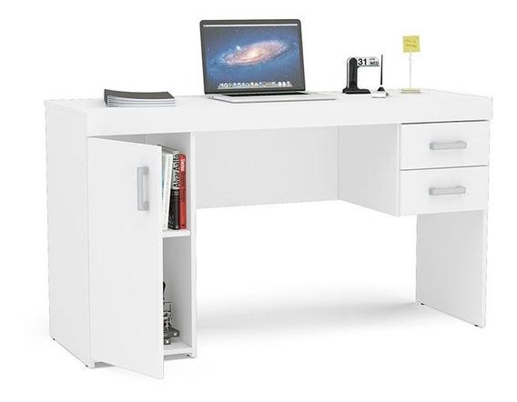 Mesa Computador 1 Porta 2 Gavetas Miranda Politorno Branco