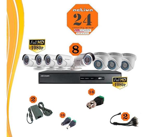 Kit De Seguridad Hikvision Dvr 8 Ch+ 8 Camaras+fichas+fuente