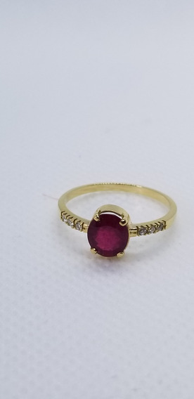 Anel Solitário Ouro 18 K 750 Com Rubi Natural E Diamantes