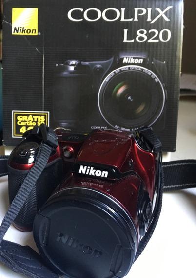 Câmera Semi-profissional Coolpix L820 Nikon - Ótimo Estado