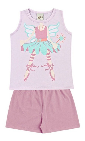 Pijama Infantil Bebê Menina Regata Short Bailarina Kk5002pj