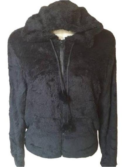 Blusa Feminina Casaco Capuz Ziper Frontal Pelinho Inverno