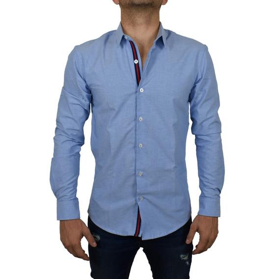 Camisa Lisa Azul Coral