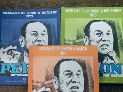 Imagen 1 de 6 de Mensajes 1973 / 1974 * Juan Domingo Peron * 3 Tomos *