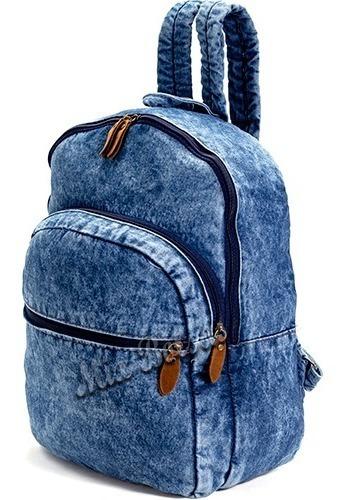 Mochila Jeans Reforçada Forrada Escolar Passeio Dia A Dia