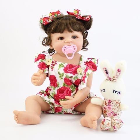 Bebê Reborn Realista 100% Silicone 55cm A