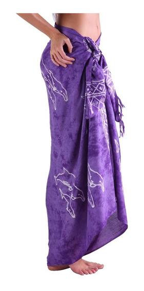 Pareo Largo + Botón De Coco Modelo Batik Varios Colores