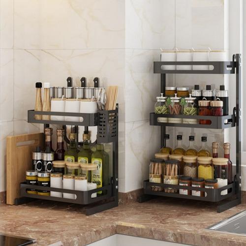 Azul Vobor Caja de Almacenamiento del Tenedor del condimento del Estante de Las Especias de la Capa Doble Restaurante de la Cocina
