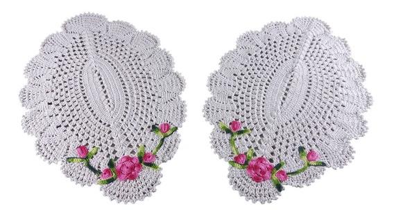 Par De Tapetes De Crochê Grandes Para Sala Com Flor Cores
