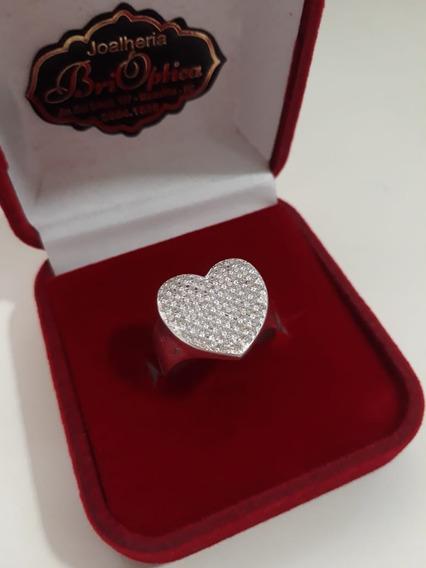 Anel De Coração Com Micro Pedras Em Prata 950