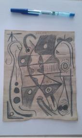 Pablo Picasso Original - Desenho Sobre Folha De Caderno