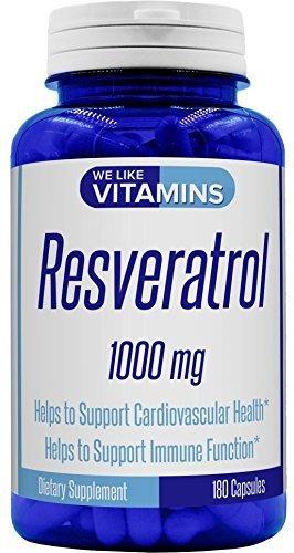 100% Pure Resveratrol 1000mg 180 Cápsulas