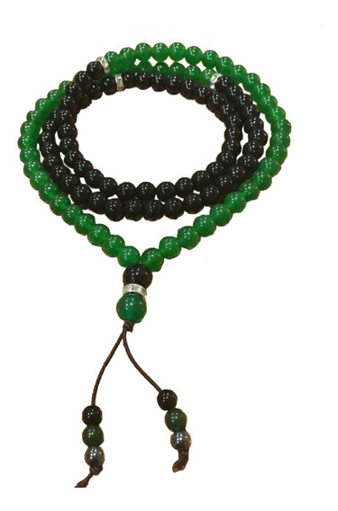 Japamala Onix Negro E Jade Verde Pedra Natural 108 Contas