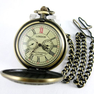 Vintage Reloj De Bolsillo Bronce Mecánico Segundo Y 24 Horas