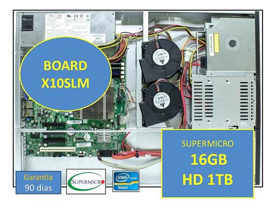 Servidor Supermicro X10 1u Xeon 16gb Ram Hd 1tb C/ Trilhos
